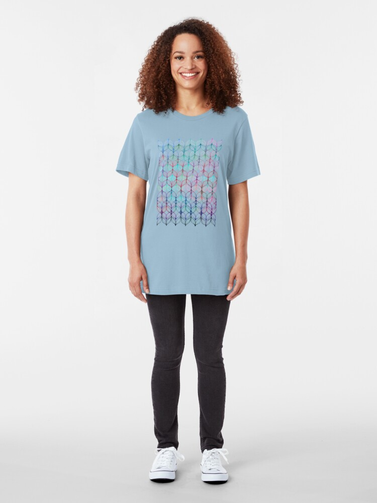 Alternate view of Mermaid's Braids - a colored pencil pattern Slim Fit T-Shirt