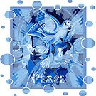 Dove With Celtic Peace Text In Blue Tones by taiche