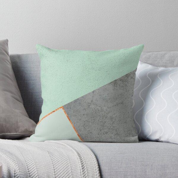 MINT COPPER GRAY GEOMETRIC PATTERN Throw Pillow