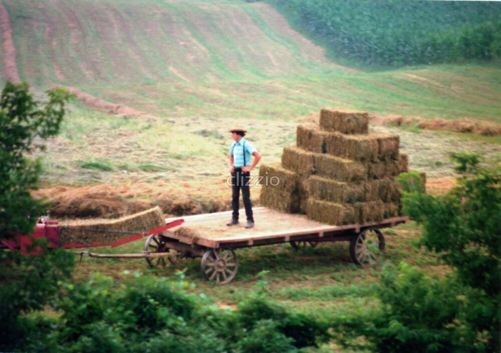 Amish Hay Bailing Time by clizzio