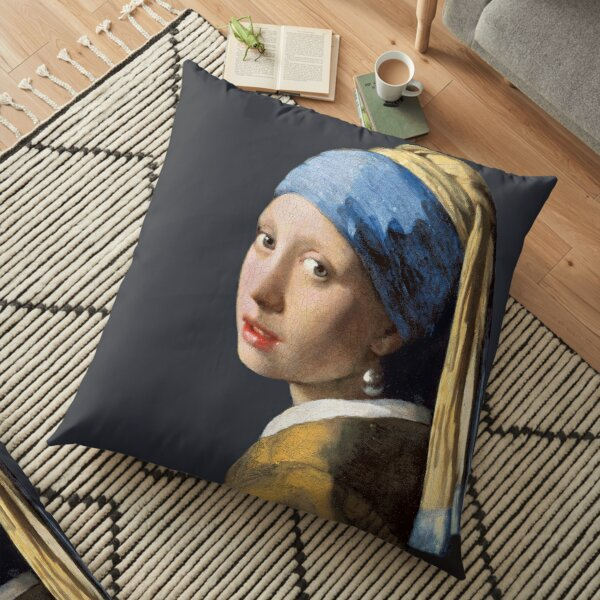 Vermeer's Girl with a Pearl Earring Floor Pillow