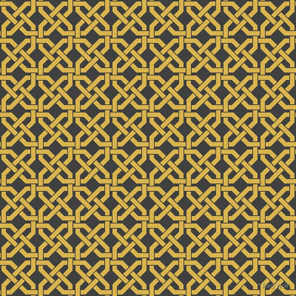 Geometric Pattern: Octagon Knot: Yellow Dark by * Red Wolf