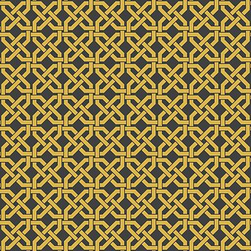 Geometric Pattern: Octagon Knot: Yellow Dark by redwolfoz