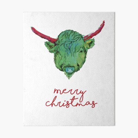 Christmas Series - Highland Cow Art Board Print