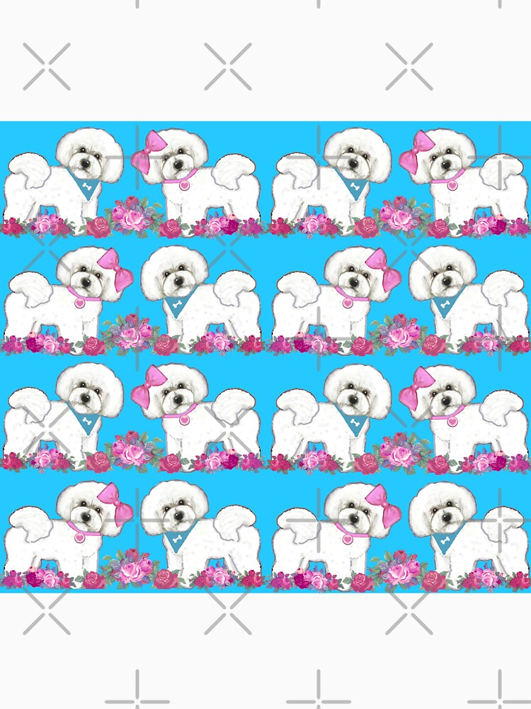 Bichon Frise dogs, Pink rose floral cute dog by MagentaRose