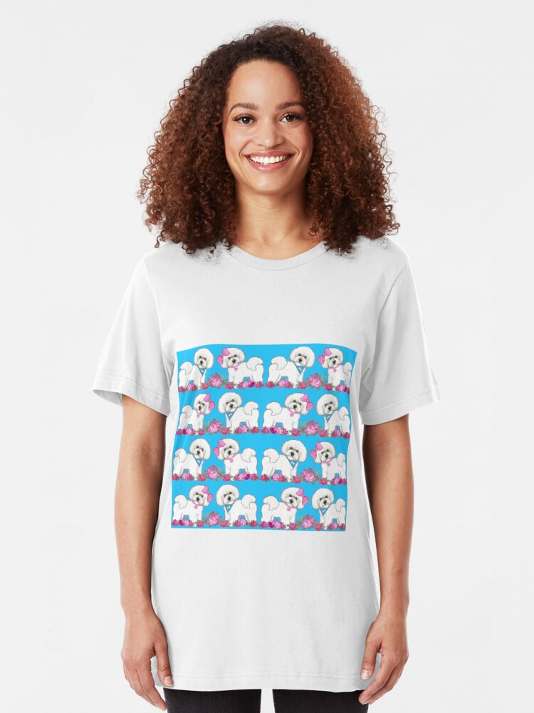 Alternate view of Bichon Frise dogs, Pink rose floral cute dog Slim Fit T-Shirt