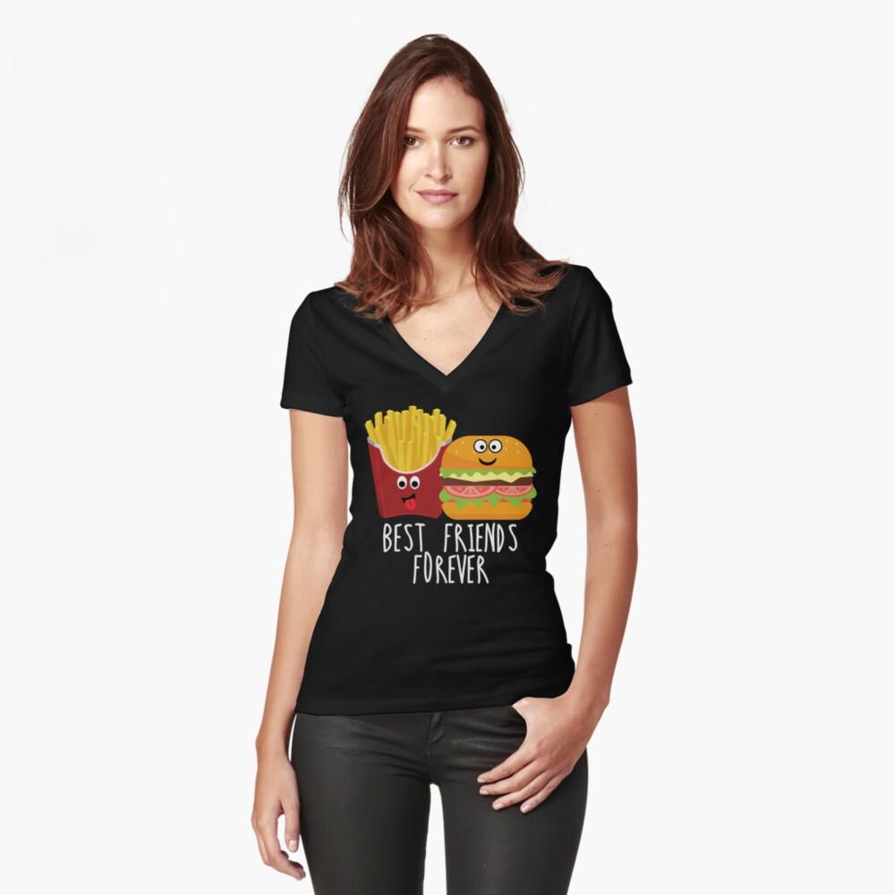 Fries Burger Pommes Best Friends Forever Women's Fitted V-Neck T-Shirt Front