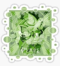 Dove With Celtic Peace Text In Green Tones Sticker