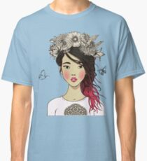 Young beautiful Asian woman with flowers Classic T-Shirt