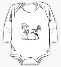 Sumi-e Horse Large Print One Piece - Long Sleeve