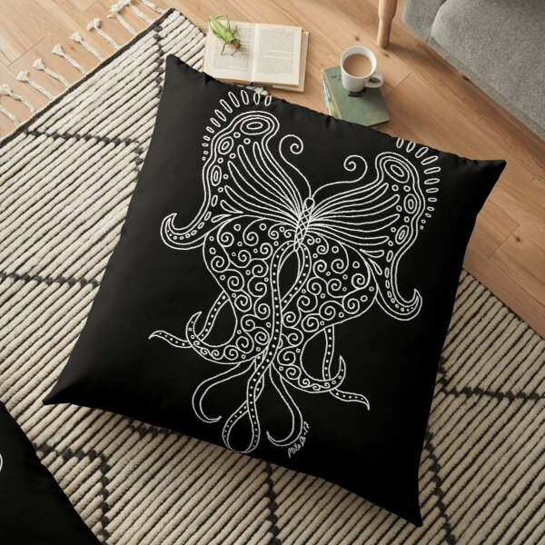 58 Butterfly - black Floor Pillow