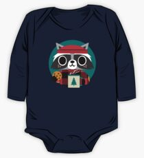 Waschbär in roter Buffalo Plaid Sweater Baby Body Langarm