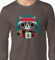 Raccoon in Red Buffalo Plaid Sweater Long Sleeve T-Shirt