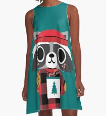 Raccoon in Red Buffalo Plaid Sweater A-Line Dress