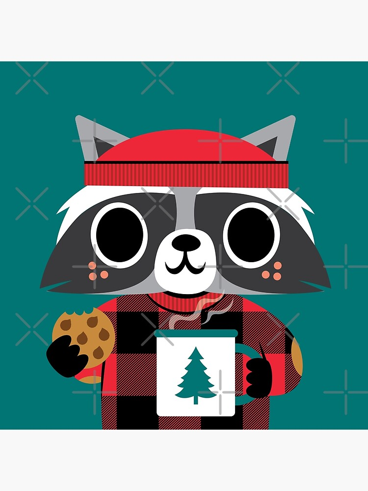 Raccoon in Red Buffalo Plaid Sweater by jsongdesign