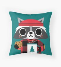 Raccoon in Red Buffalo Plaid Sweater Floor Pillow
