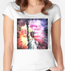 Patriotic Lady of Liberty Women's Fitted Scoop T-Shirt
