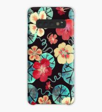 Watercolor Garden Nasturtiums. Dark Floral Pattern Case/Skin for Samsung Galaxy