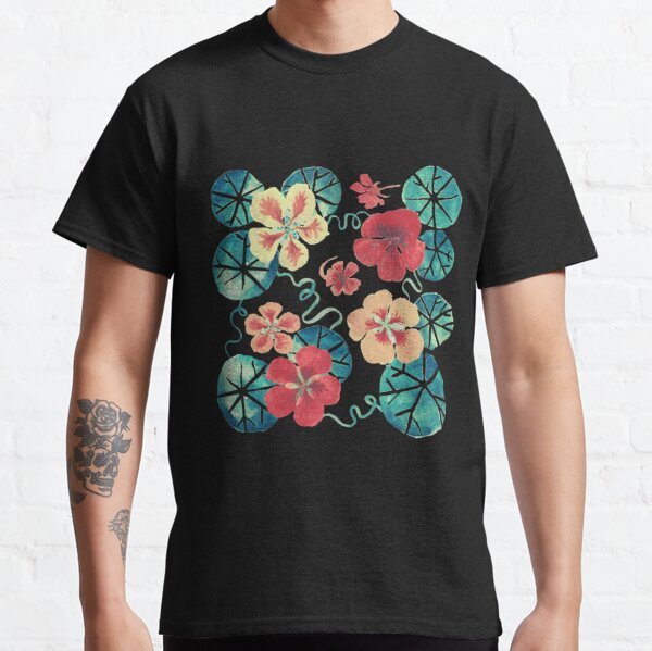 3D Printed T-Shirts Spring Flowers in Stained Glass Style Buds and Leaves On DAR