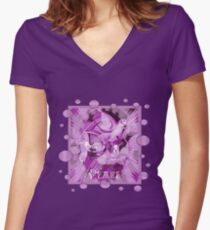 Dove With Celtic Peace Text In Pink Purple Tones Women's Fitted V-Neck T-Shirt
