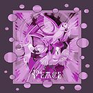 Dove With Celtic Peace Text In Pink Purple Tones by taiche