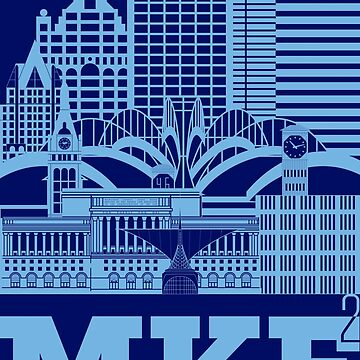 """Milwaukee Squared"" Skyline FLAG BLUE by MetzgerAndSons"