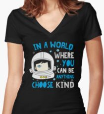 Trending Choose Kind Anti Bullying Helmet T-Shirt Women's Fitted V-Neck T-Shirt