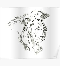 Sumi-e Lion Large Print Poster