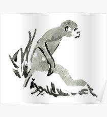 Sumi-e Monkey Large Print Poster