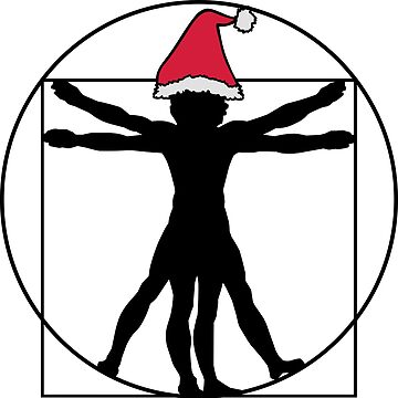 Merry Christmas Hat Leonardo Da Vinci Vitruvian  by sweetsixty
