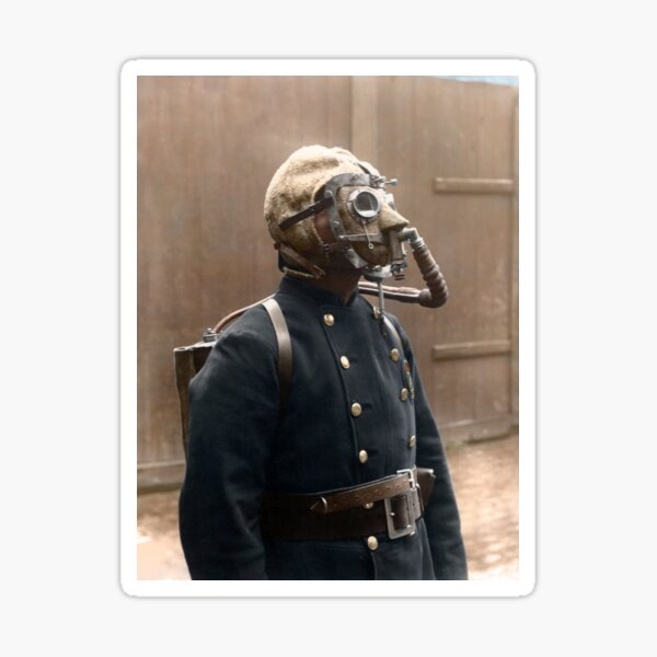 London Fire Brigade fireman, wearing a smoke helmet, 1908. Sticker