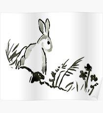 Sumi-e Rabbit Large Print Poster