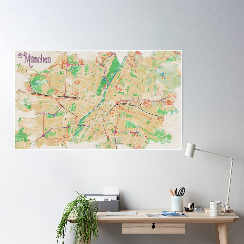 Munich in Watercolor Poster