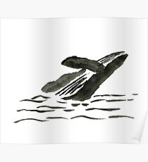 Sumi-e Whale Large Print Poster