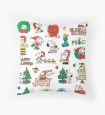 snoopy christmas set Throw Pillow
