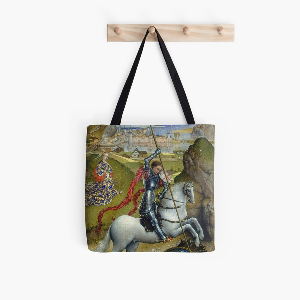 Saint George and the Dragon Oil Painting by Rogier van der Weyden Tote Bag