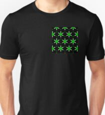 Herbal green abstract pattern with cheerful flowers. Unisex T-Shirt