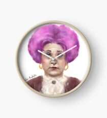 Funny Looking Old Lady with Crazy Pink Wig  Clock