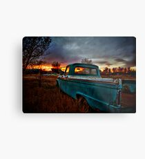 Old Truck and Sunset Metal Print