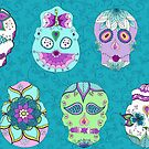 Turquoise Sugar Skulls by Kristin Omdahl