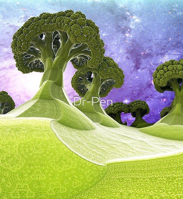 Broccoli Planet [iphone / ipad case / mug / laptop sleeve / shirt / print] by Dr-Pen