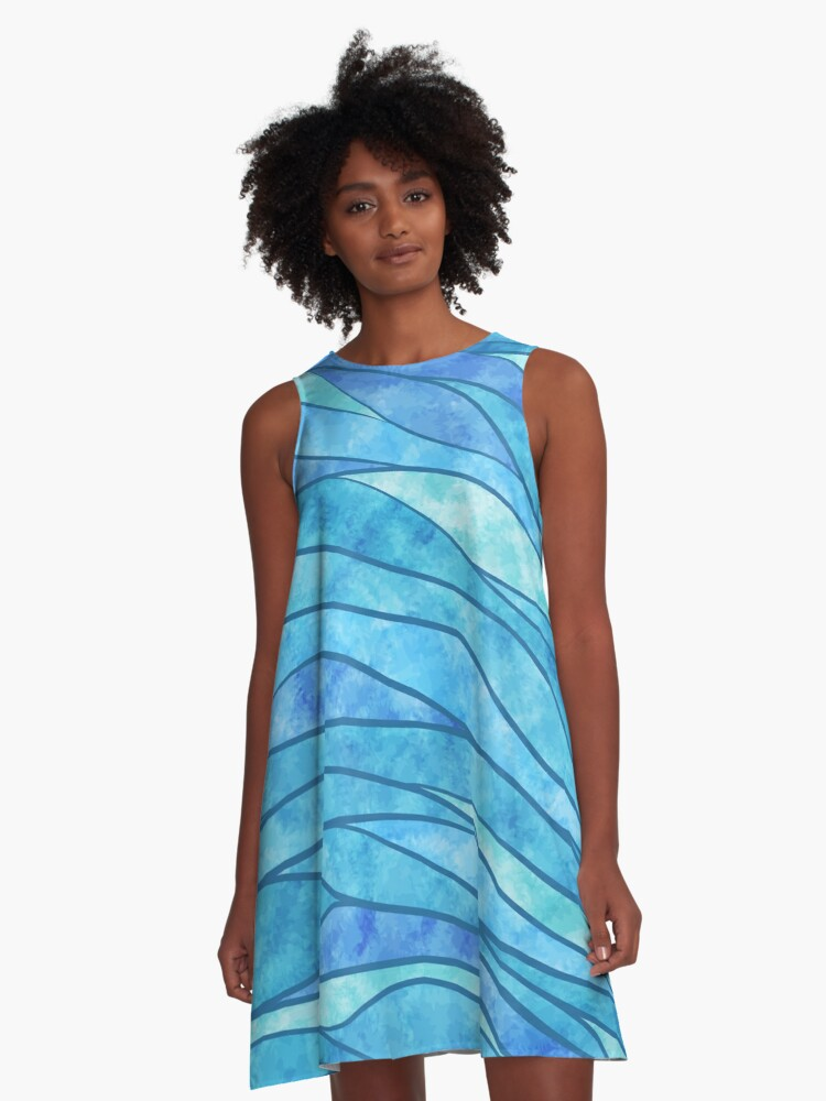 Blue Waves Ocean Abstract A-Line Dress Front