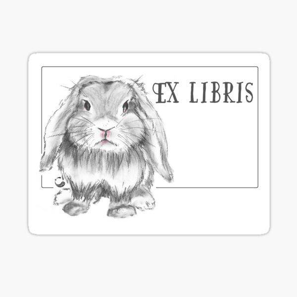 grumpy rabbit (ex-libris) - Charcoal Animals Sticker