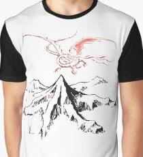 Camiseta gráfica Dragón rojo sobre un solo pico solitario - Fan Art