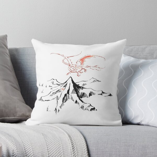 Red Dragon Above A Single Solitary Peak - Fan Art Throw Pillow