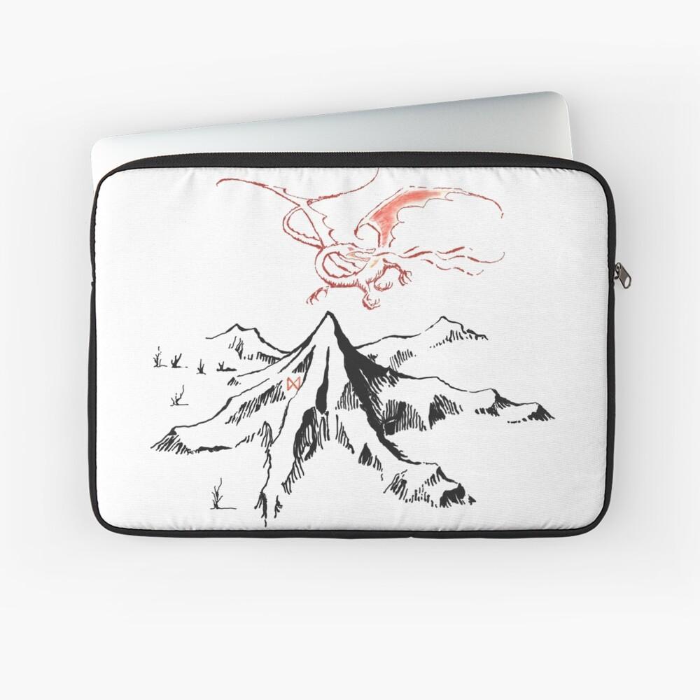Red Dragon Above A Single Solitary Peak - Fan Art Laptop Sleeve