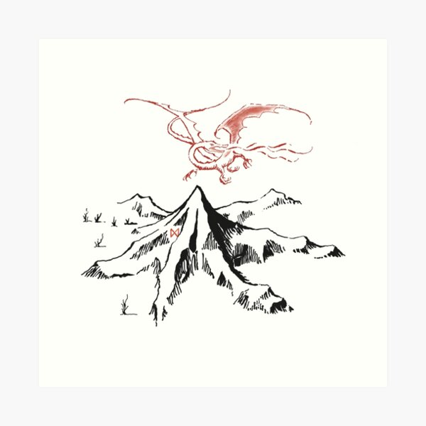Dragon rouge au-dessus d'un seul pic solitaire - Fan Art Impression artistique