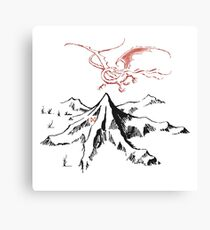 Red Dragon Above A Single Solitary Peak - Fan Art Canvas Print