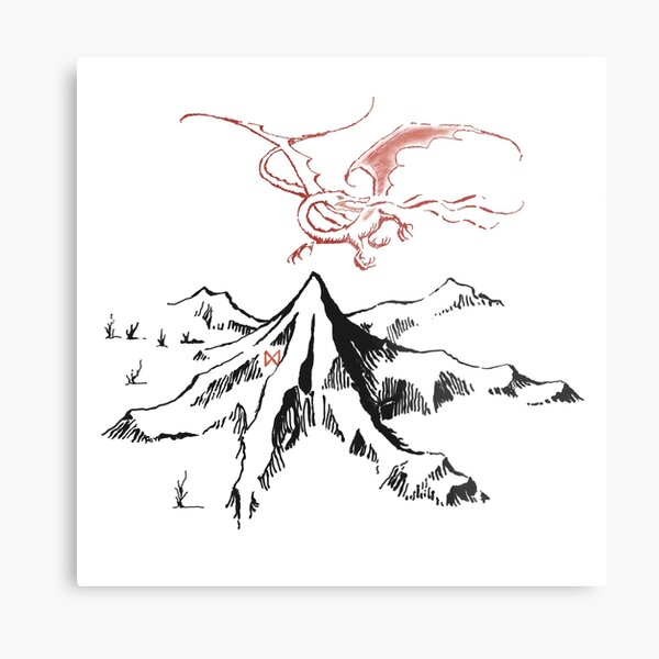 Red Dragon Above A Single Solitary Peak - Fan Art Metal Print