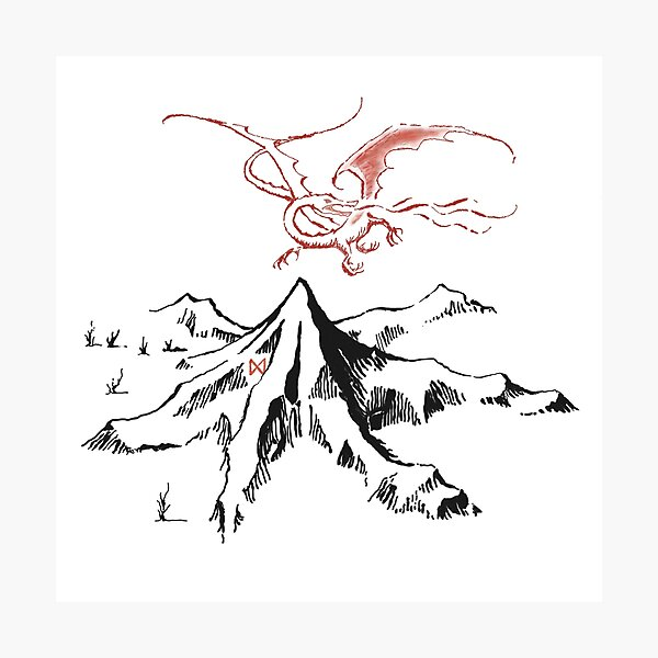 Red Dragon Above A Single Solitary Peak - Fan Art Photographic Print